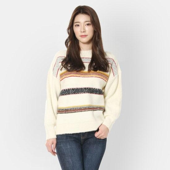 ルシャプLeShopフェルト自首ラウンドニットLI1KP556 / ニット/セーター/ストライプニット/韓国ファッション