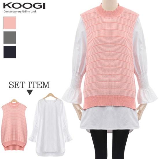 釘宮ニットシャツセットワンピースKL1OP112A 綿ワンピース/ 韓国ファッション