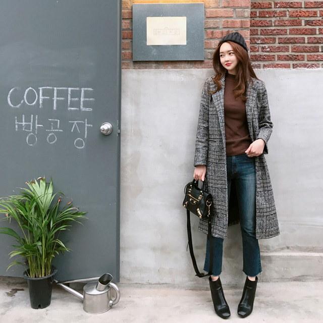 フィル受けた時、チェックコートkorean fashion style