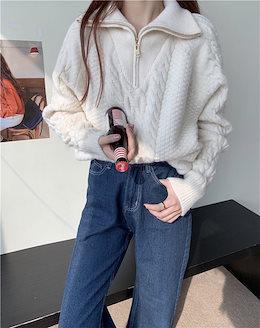 今冬必ず買うデザイン✨韓国ファッション 秋 冬 おしゃれな 暖かい 厚手  ニット ジッパー 麻の花 セーター タートルネック ゆったりする 怠惰な風