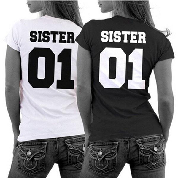 プリントSister01プラスサイズコットンガールフレンドシスターズ半袖Tシャツ女性ファッション