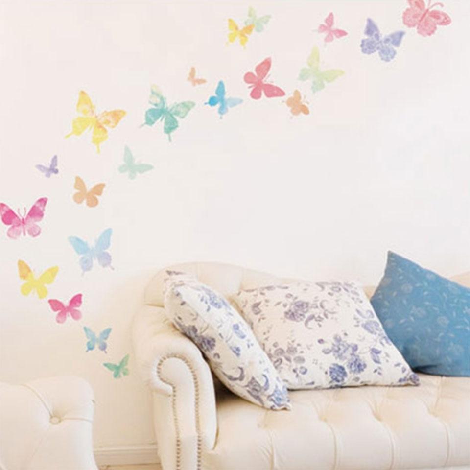 Qoo10 ウォールステッカー 淡い蝶 子供 北欧 家具 インテリア