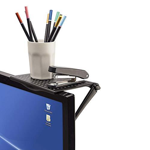 テレビの上に棚 スクリーンシェルフ テレビ 上 棚 ディスプレイボード オフィス収納 オフィスアクセサリー オフィスアクセサリー ディスプレイ 棚 横幅16cm 奥行12.7cm (ブラック) CPY