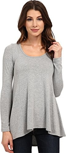 Karen Kane Womens Seam Detail Sweater, Light Heather Gray, Small