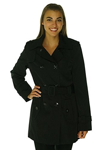 Calvin Klein Womens Double-Breasted Belted Trench Coat (S, Black)