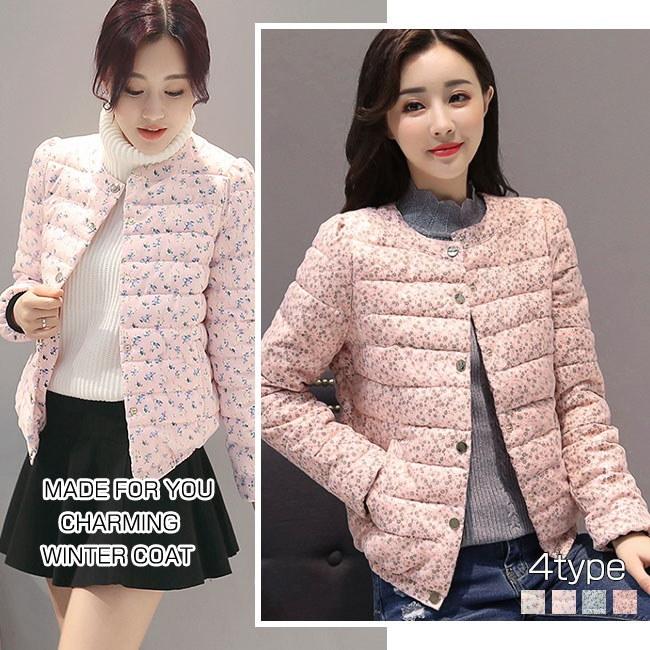 レディース服 女性 大人 冬 ダウンコート ダウンジャケット 丸襟 ショート丈 薄手 小花柄 フェミニン 韓国ファッション