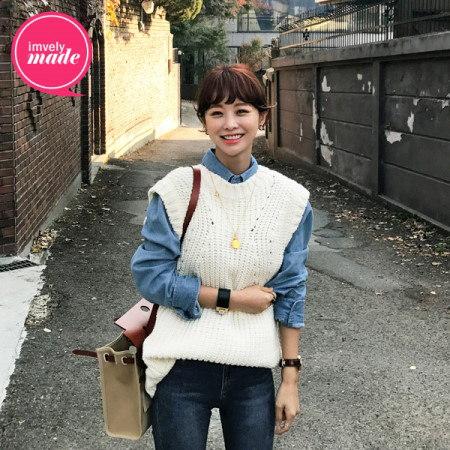【Imvely]ピットが存続ロングベストニットkorean fashion style