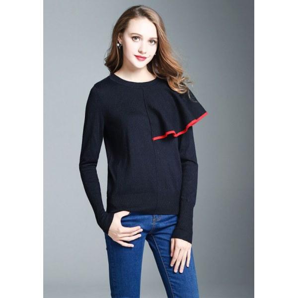 Women Wool ruffle dress Pullover Sweater フリル付アシンメトリープルオーバーセーター