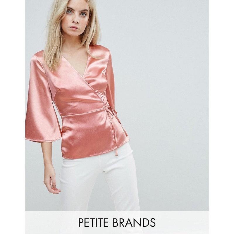 ファッションユニオン レディース トップス ブラウス・シャツ【Fashion Union Petite Wrap Blouse In Satin】Peach
