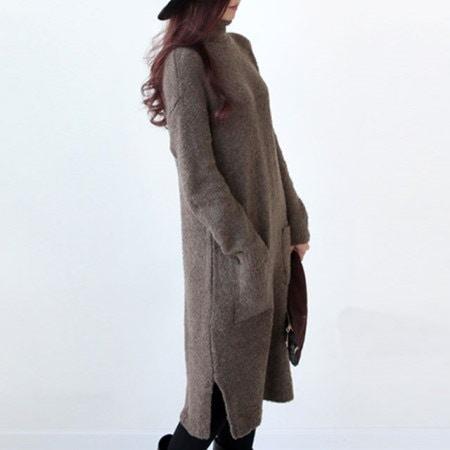 子ミリポーラニットワンピース厚いほうがなくコートの中に口ショヅ無難です