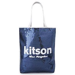 キットソン トートバッグ Kitson KHB0261 ショルダーバッグ スパンコール ミディアムシークインデイバッグ ネイビー×ホワイト Sequin NS Tote bag 【ILB】