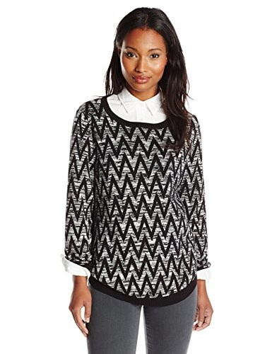 NY Collection Womens Long Sleeve Wide Neck Jacquard Marled Pullover, Torisa, Large