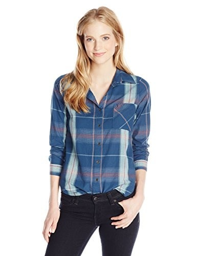 Rip Curl Juniors Cabin Fever Plaid Shirt, Navy, Large