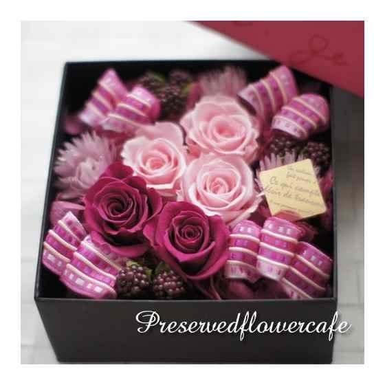 プリザーブドフラワーカフェプリザーブドフラワーカフェ プリザーブドフラワー ギフト ロゼボックス(ピンク) / roseboxpink