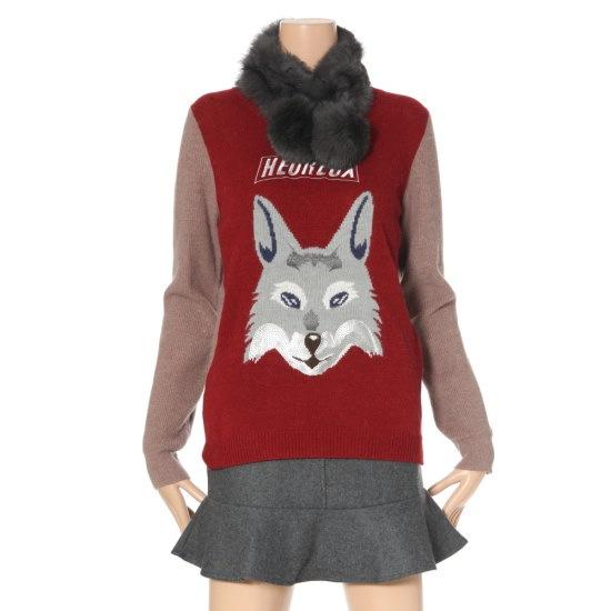 ルシャプLeShop狐キャラクターニートLGBKP114 ロングニット/ルーズフィット/セーター/韓国ファッション