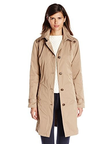 Rainforest Womens Classic Single Breasted Trenchcoat, Tan, Large