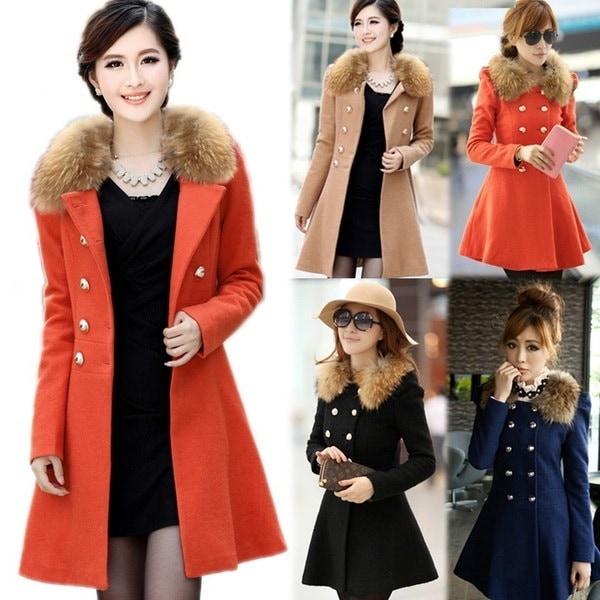女性の暖かい毛皮の襟冬のトレンチコートコートパーカーのオーバーコートロングジャケットの服F_B 18508