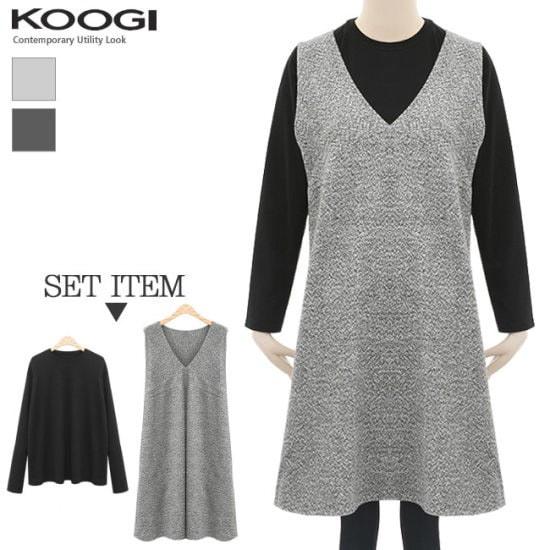 釘宮ボカシセットワンピースKL1OP113A 綿ワンピース/ 韓国ファッション