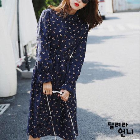 コーデュロイネイビーワンピース薄いが柔らかく暖かいコーデュロイ素材のワンピースkorea fashion style