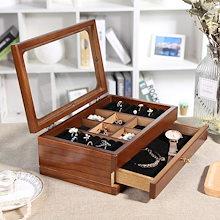 LANGRIA ジュエリーボックス  2段 木製 コスメボックス 収納ケース  アクセサリーケース  持ち運び便利 ピアス ネックレス リング 指輪など収納に