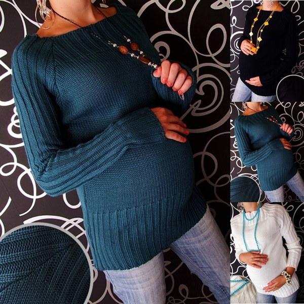3色女性ファッションマタニティ妊娠中のセータージャンパートップロングスリーブニットウェアウォームセーター