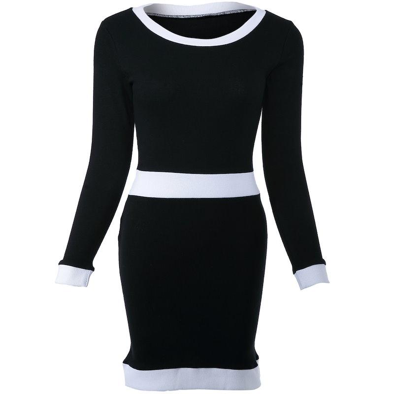 女性のためのスタイリッシュなスクープネックロングスリーブカラーセクシーなセータードレス