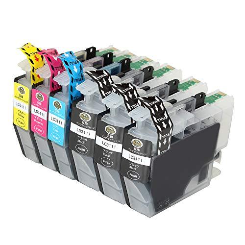 YUUSHA Brother LC3111 6個セット(4色セット2) BK大容量 最新版ICチップ付け LC3111-4PK ブラザー互換インクカートリッジ 対応機種:DCP-J973N-B DCP