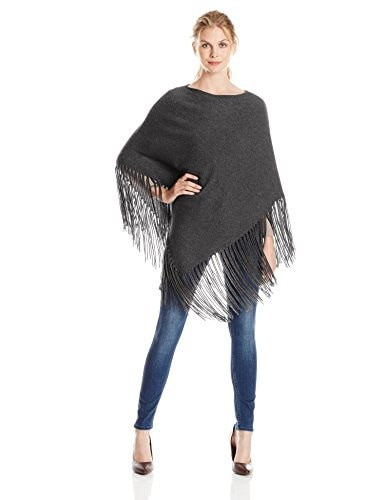 Minnie Rose Womens Cashmere Fringe Hankie Poncho, Charcoal, One Size