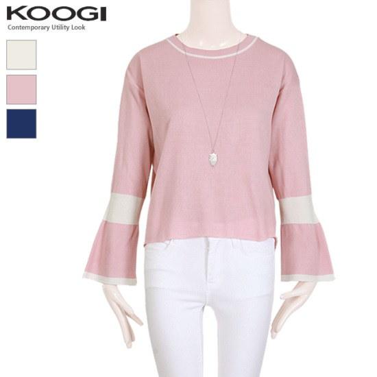 釘宮KOOGIラウンド配色ラッパ小売ニットKK1KN122A ニット/セーター/ニット/韓国ファッション
