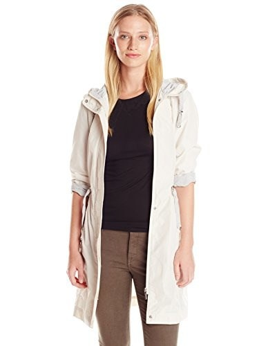 Rainforest Womens Hooded Anorak, Cream/Light Grey, Small