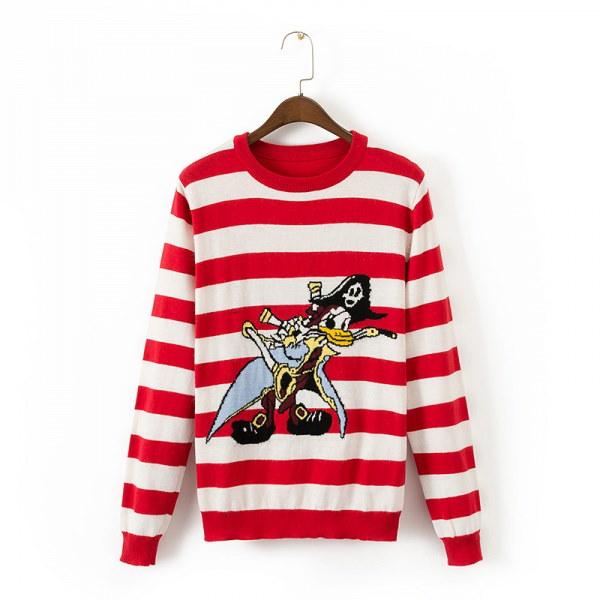 Womens Character Donald Duck Border Long Sleeve Sweaters Pulloversドナルドダック ボーダープルオーバー セーター