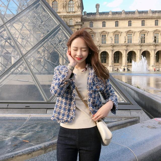 エレガント優雅ツイードジャケットkorean fashion style