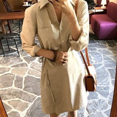 ★韓国商品c039★(THE MOOD)シャイノレプワンピース♥女性ファッション服/シャツ、ナシファッション♥