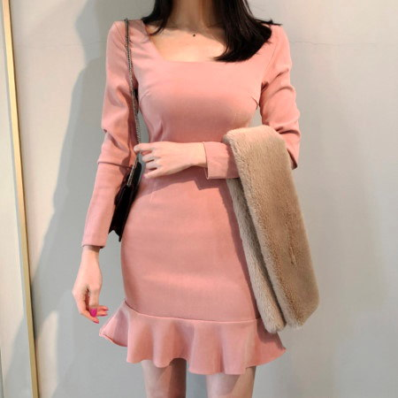 Square Neck Suede Frill New Year Party Dress Korean fashion style