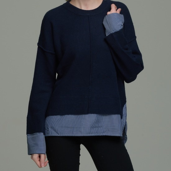 渓谷をウブンパッチルーズフィットニトゥタプ968830 ロングニット/ルーズフィット/セーター/韓国ファッション