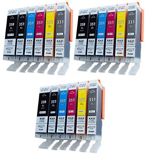全国一律無料 ZAZ [3セット18個] BCI-351XL+350XL/6MP 互換インク (350XLは顔料ハイグレードタイプ)6色×3セット Canon 互換 インク タンク