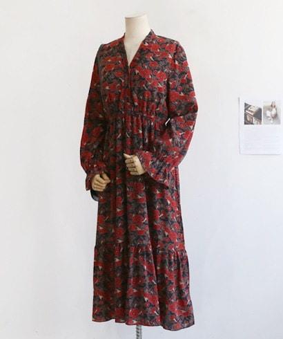 フラワーパターンシフォンロングワンピースラッフル秋ワンピースフローラルワンピース30571デイリールックkorea women fashion style