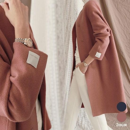 [CANMART]ロミハンドメイドコート★韓国ファッション★ C110255 おしゃれな色味 ハンドメイドコート ベーシックながら上品な 大人コーデアイテム