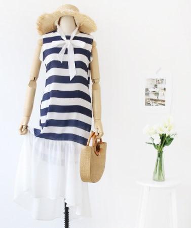 [B30232]レクリエーションルックノースリーブダンガラパターンシースルーフレアロングワンピースデイリールックkorea women fashion style