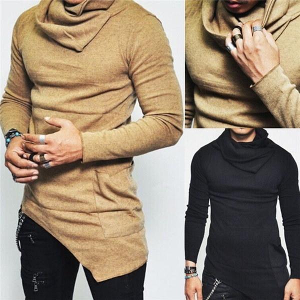 アンバランスタートルシャーリングポケットロングスリーブTシャツメンズファッション衣類魅力的なガイロー