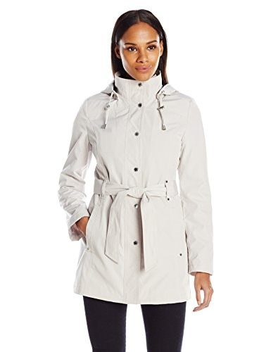 Nautica Womens Belted Raincoat, Pebble/Marine, Medium