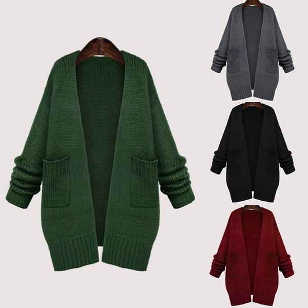 4色のファッション女性のソリッドロングスリーブポケットルーズロングコートCacsualカーディガン