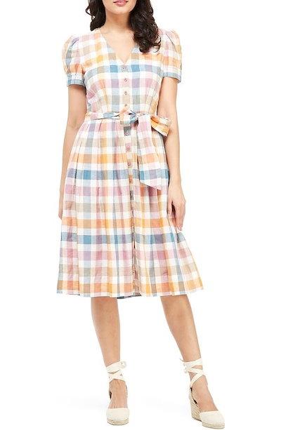 ギャルミーツグラム レディース ワンピース トップス Gal Meets Glam Collection Poppy Button Down Shirtdress (Regular & Petite)