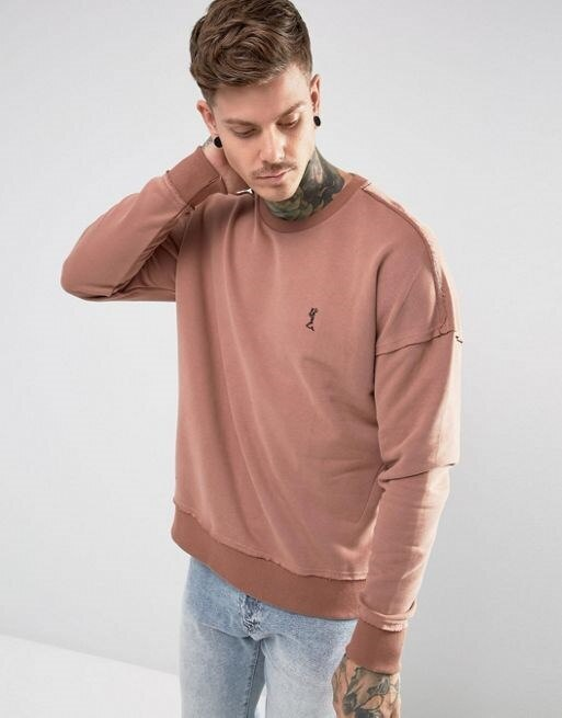 Religion Dropped Shoulder Sweatshirt With Raw Seam