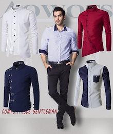 [新規製品] [超人気販売]韓国ファッションメンズ長袖 ワイシャツ ♥  ビジネスシャツ♥一年四季使える男性シャツ♥特別なスタイル♥アリエナイ値段