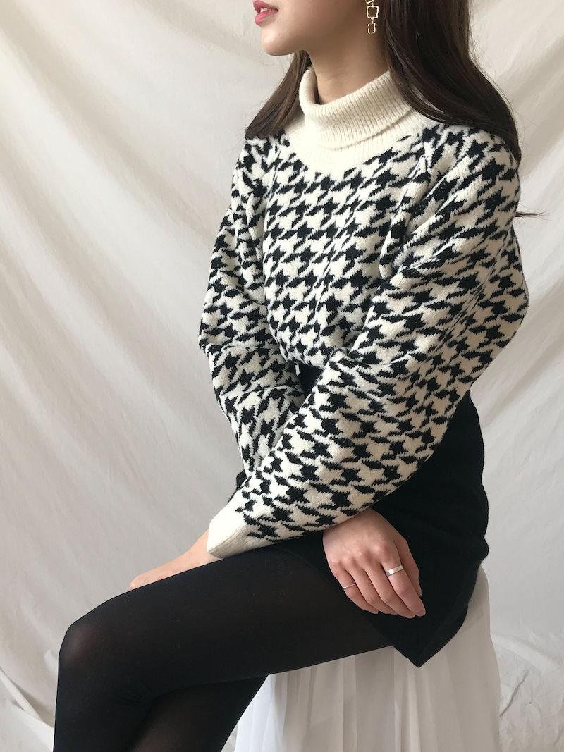 エロンルーズフィットハウンド首ポーラニットkorea fashion style