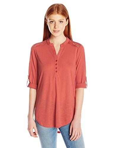 ALMOST FAMOUS Womens Solid 3/4 Sleeve Tab Henley Tunic with Lace Yoke, Burnt Orange, Small