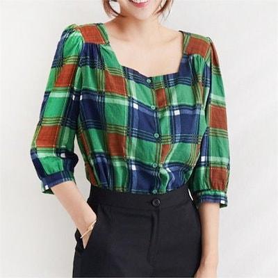 モンジュスクエアネックチェックブラウスbl436new 女性ブラウス/プリントブラウス/韓国ファッション