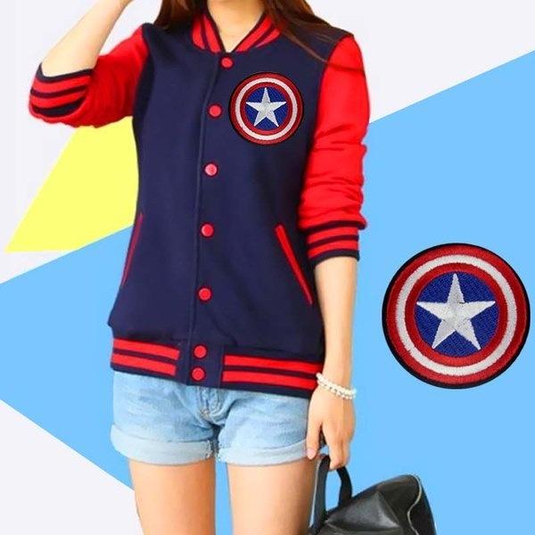 2 PCSファッションキャプテンアメリカそれに衣類のパッチワークのパッチワークのパッチに刺繍の鉄