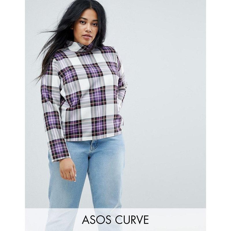 エイソス レディース トップス【ASOS CURVE Funnel Neck Check Top】Check print